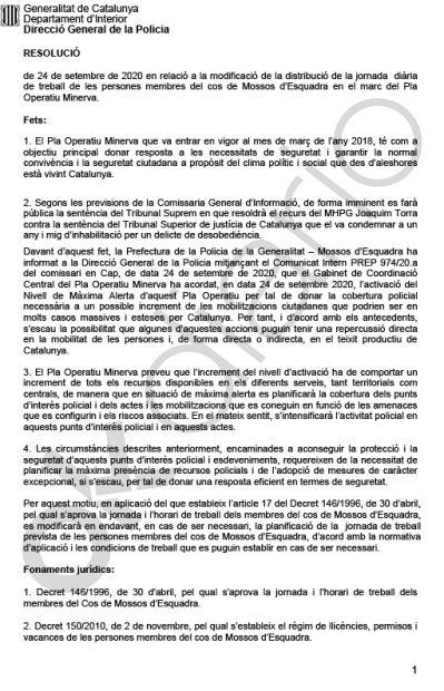 El director de los Mossos admite que se preparan para un estallido social tras la sentencia de Torra