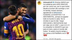 Luis Suárez responde al mensaje de Messi.