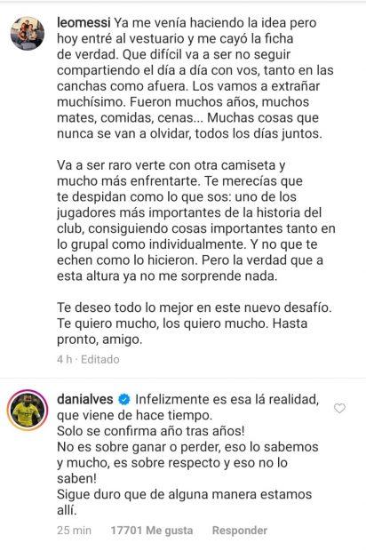 La respuesta de Alves a Messi.