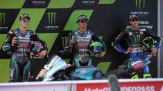 Morbidelli, Quartararo y Rossi durante la clasificación para el Gran Premio de Cataluña. (AFP)