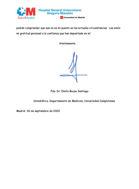 Emilio Bouza señala a Illa en su carta de renuncia por romper la «concordia política»