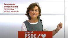 Carmen Calvo durante la inauguración de la jornada de la Escuela de pensamiento feminista Elena Arnedo. Foto: EP
