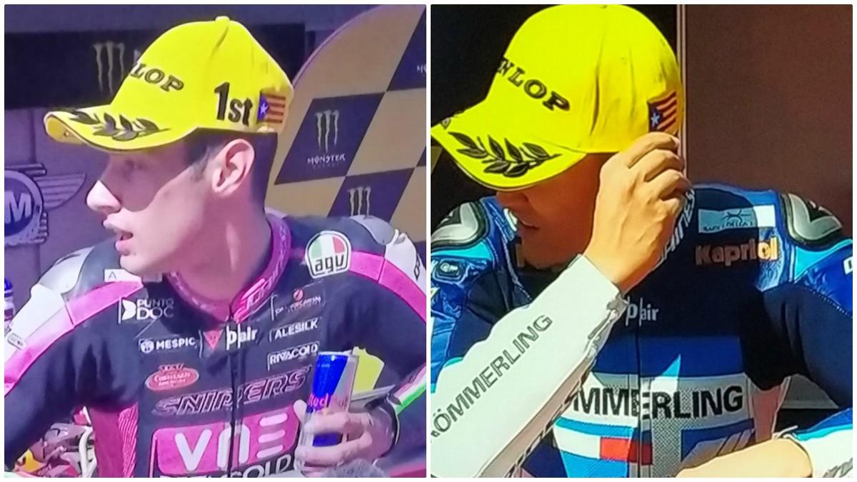 La estelada en las gorras de Dunlop en el Gran Premio de Catalunya.