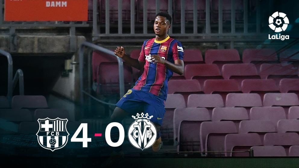 Ansu Fati celebra uno de sus dos goles.