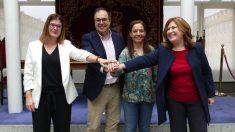 Noelia Posse junto a los alcaldes socialistas de Leganés, Getafe y Alcorcón. (Foto. Móstoles)
