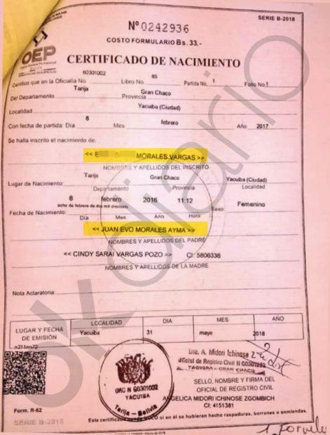 Certificado de nacimiento de la hija secreta de Evo Morales.
