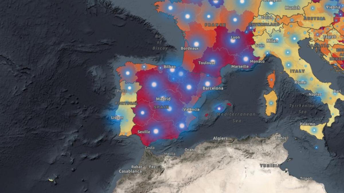 Mapa de la OMS de la evolución del coronavirus en España.