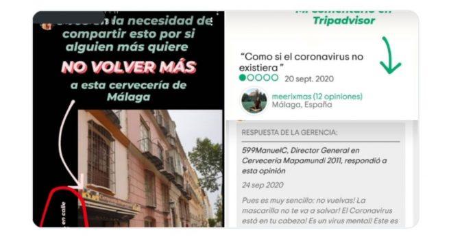 Así responde el propietario de un bar de Málaga a quienes critican que los camareros no llevan mascarilla