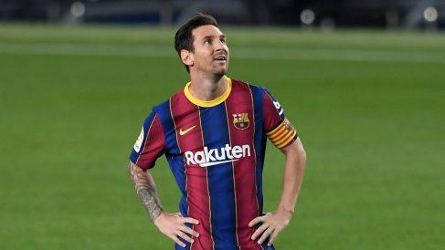 Messi, en el encuentro ante el Villarreal. (AFP)
