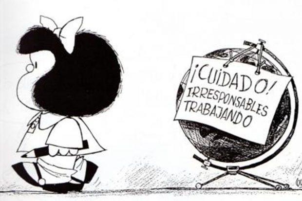 Una de las famosas viñetas de Mafalda, creada por el dibujante argentino Quino.