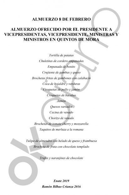 Así fue el primer ágape del Gobierno Sánchez: crujiente de gambas, cordero, jamón, venado, merluza y vino