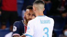 Neymar y Álvaro González se encararon durante el choque entre PSG y Olympique de Marsella. (AFP)