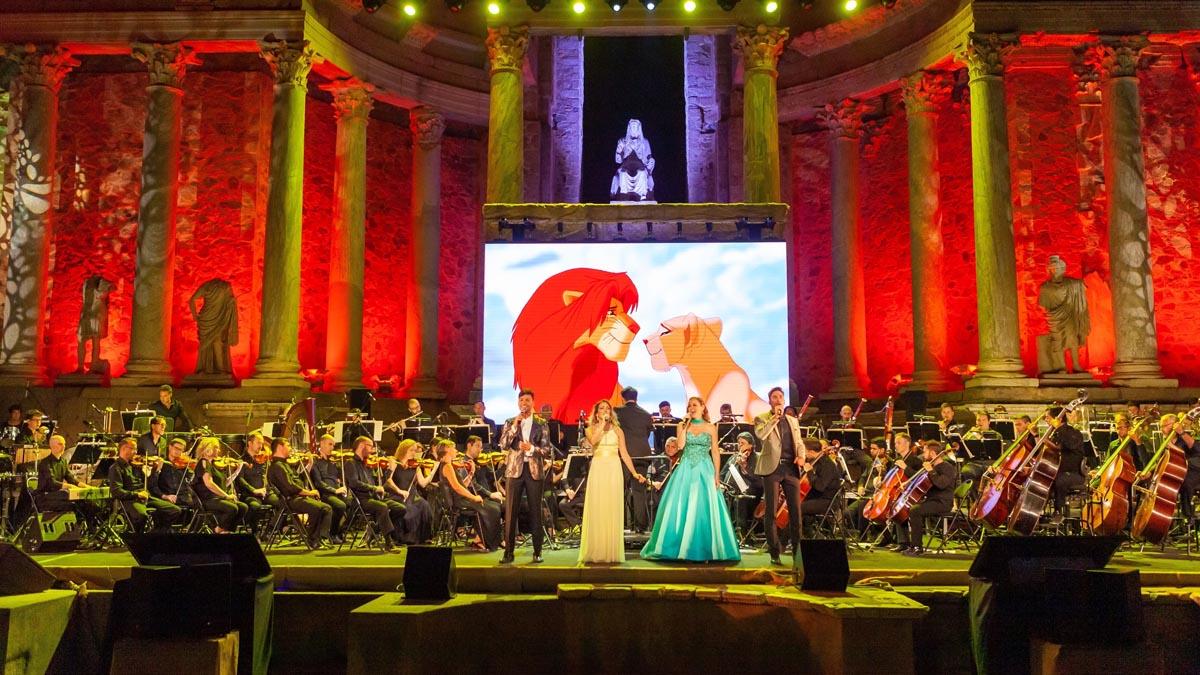 Momento del espectáculo «Disney in Concert» en el Teatro Romano de Mérida celebrado antes de la pandemia de coronavirus. Foto: EP