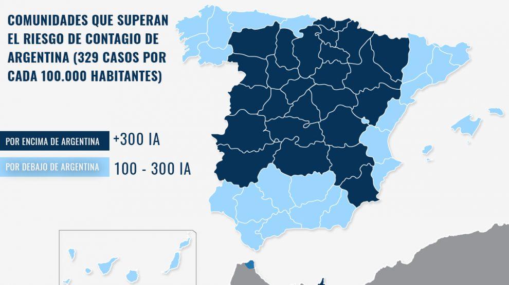 Mapa de las comunidades que superan a Argentina, peor país del mundo en riesgo de contagio.