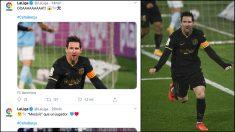 La Liga elogia a Messi tras su gol ante el Celta.
