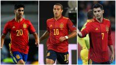 Marco Asensio, Thiago Alcántara y Álvaro Morata, alguna de las grandes ausencias en la lista de Luis Enrique. (Getty)
