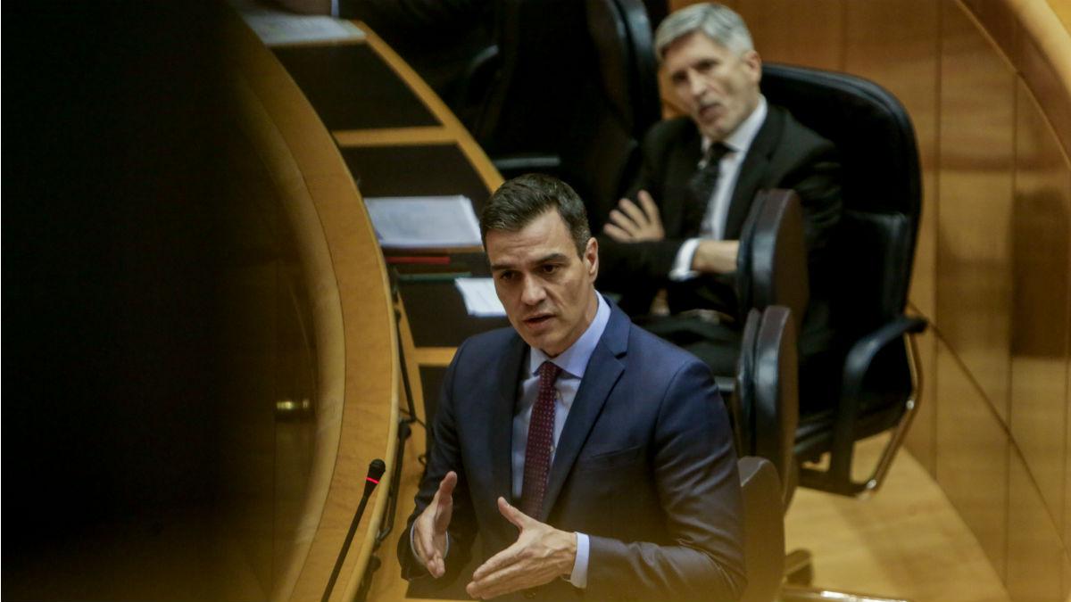 Pedro Sánchez y Fernando Grande-Marlaska, en una sesión en el Senado. (Foto: EP)