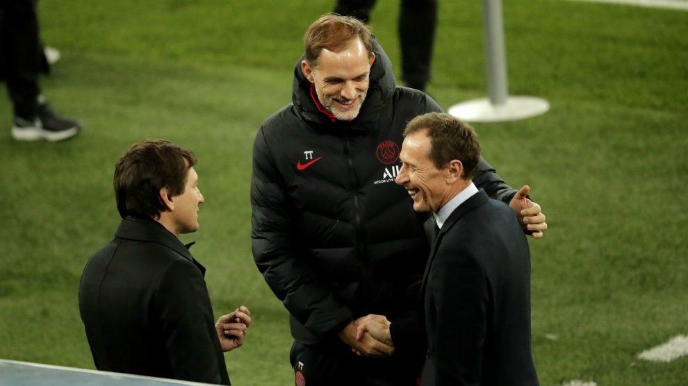 Leonardo y Tuchel charlan con Emilio Butragueño. (Getty)
