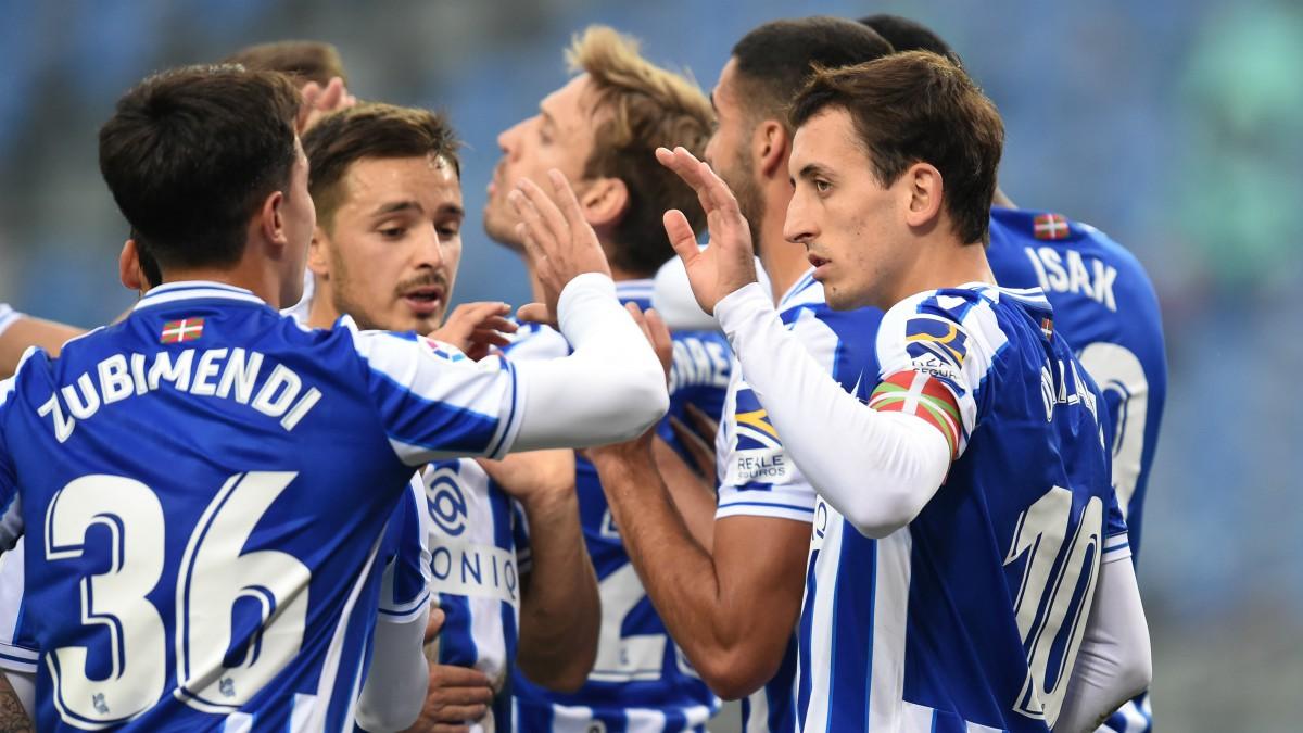 Los jugadores de la Real Sociedad celebran un gol contra el Getafe. (Getty)