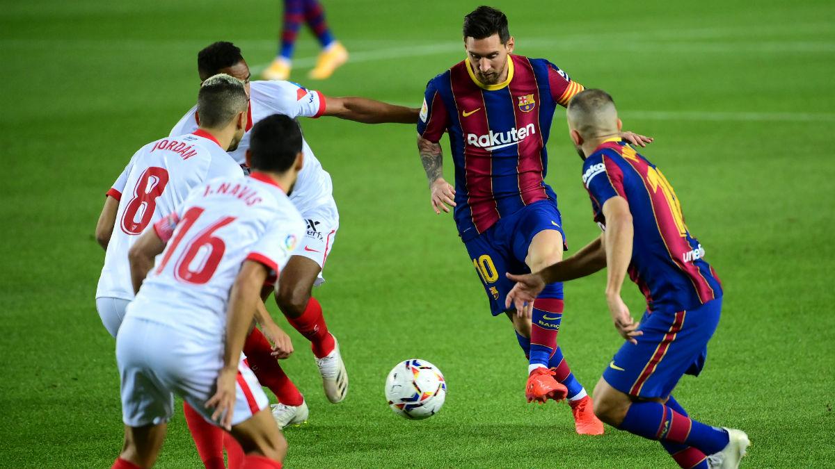 Messi, en el partido contra el Sevilla. (AFP)
