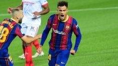 Coutinho celebra un gol ante el Sevilla. (AFP)