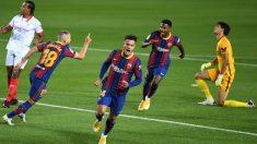 Coutinho celebra su gol ante el Sevilla. (Getty)