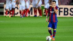 Leo Messi, tras el 0-1 del Sevilla en el Camp Nou. (AFP)