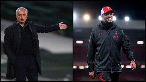 Mourinho y Klopp, durante dos partidos de la Premier. (Getty)