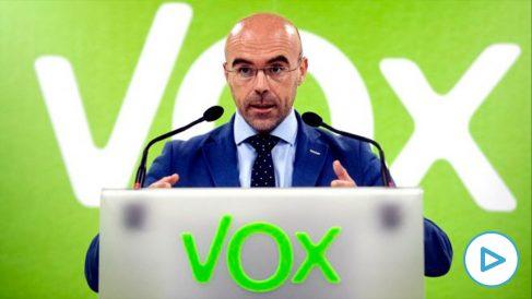 El miembro del Comité Ejecutivo Nacional de Vox y portavoz del Comité de Acción Política, Jorge Buxadé, durante una rueda de prensa. (Foto: Europa Press)