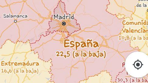 Tasa de incidencia coronavirus en Google Maps