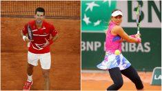 Novak Djokovic y Paula Badosa. (Getty)