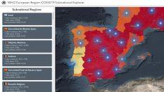 Mapa de la OMS de las regiones europeas, con Madrid registrando una caída de la incidencia del 4%.
