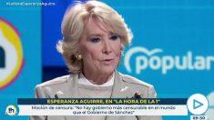 Esperanza Aguirre discrepa del 'no' de José María Aznar a la moción de Vox: «No hay gobierno más censurable que el de Sánchez».