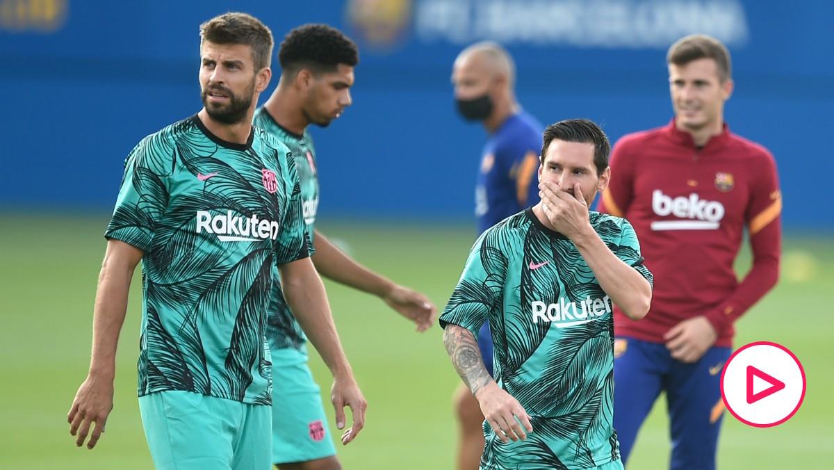 Gerard Piqué y Leo Messi. (AFP)
