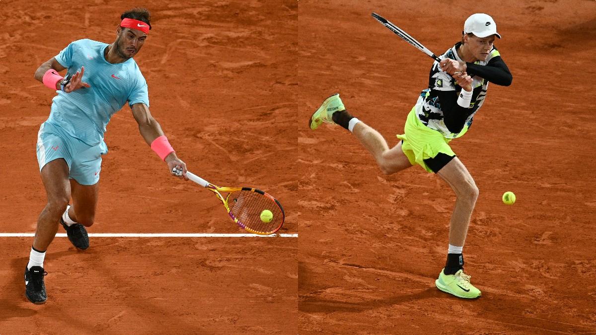 Rafael Nadal y Jannik Sinner. (AFP)