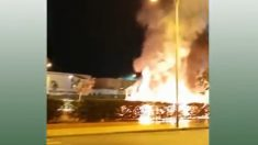 Incendio en el parque infantil del Paseo de Andalucía de Puerto Real