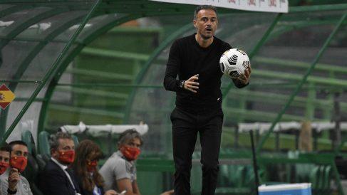 Luis Enrique, durante un partido de España. (Getty)