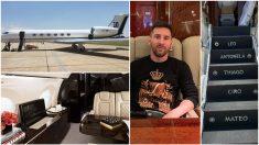Leo Messi y su avión privado.