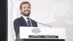 El presidente del PP, Pablo Casado, en la clausura de la Asamblea de la Empresa Familiar. Foto: EP