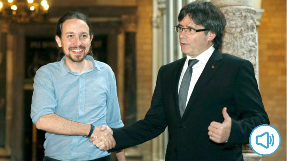 Pablo Iglesias y Carles Puigdemont, en su reunión de abril de 2016. (Foto: Efe)