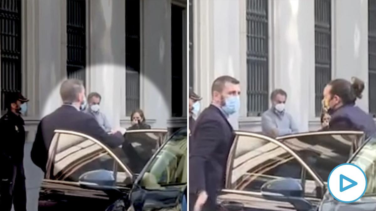 El defensor de los pobres Pablo Iglesias ya es castuza: hasta le abren la puerta del coche oficial. (Imágenes La Sexta)
