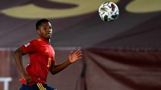Ansu Fati, durante un partido con España. (AFP)
