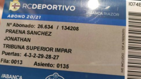 El abono del Deportivo de Jonathan Praena, presidente del Fuenlabrada.