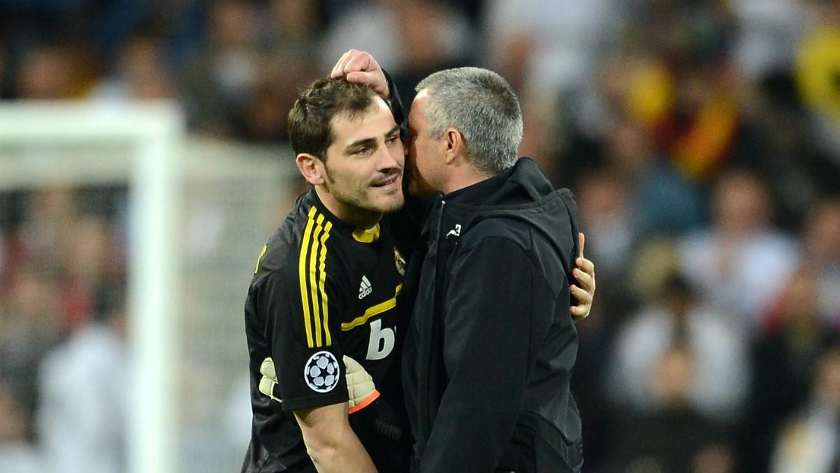 Iker Casillas y José Mourinho tras un partido de Champions League del Real Madrid. (Getty)