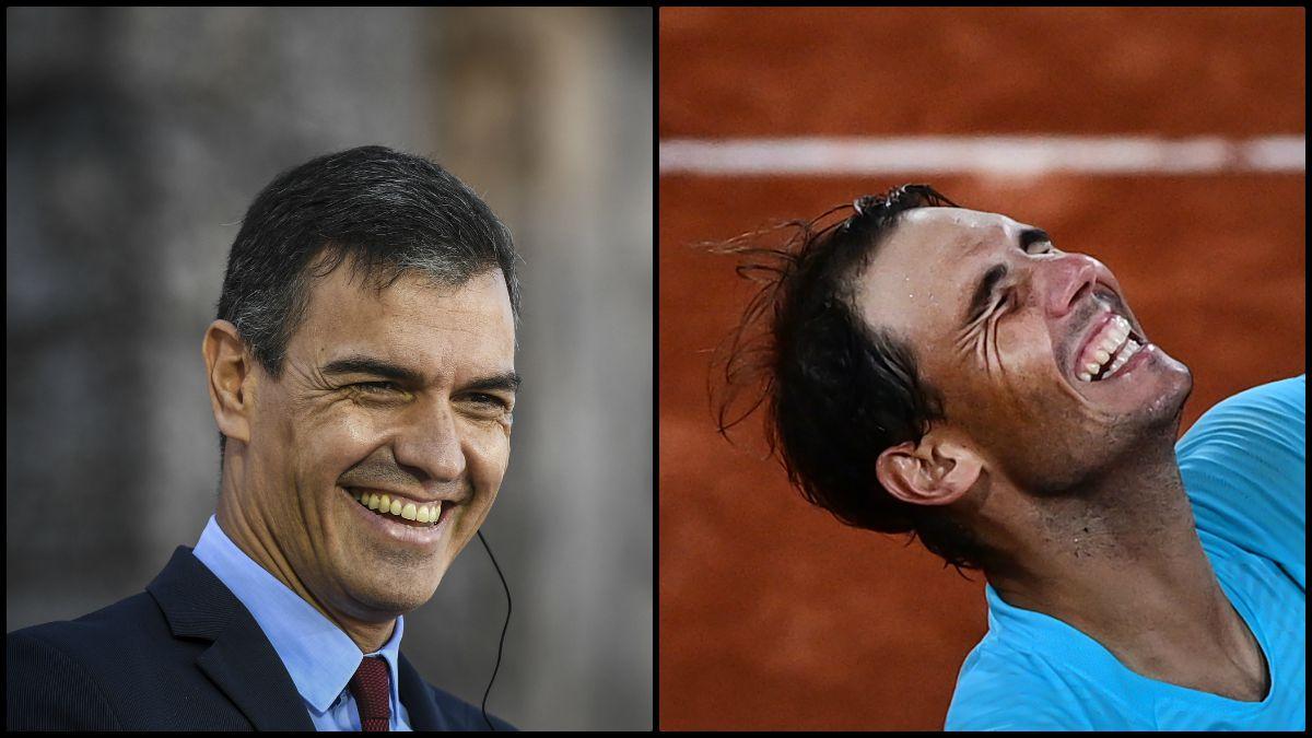 Pedro Sánchez y Rafa Nadal. (AFP)