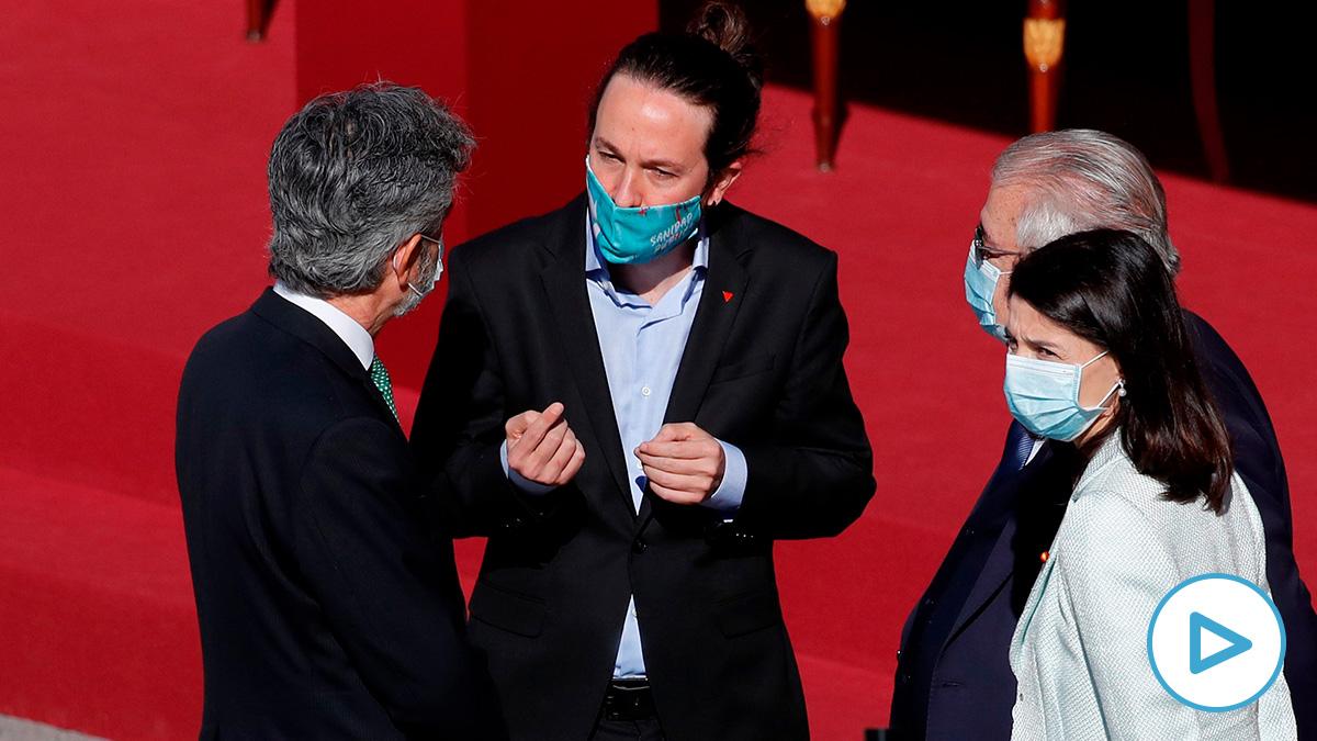 Pablo Iglesias y Carlos Lesmes, hoy, en los actos celebrados en el Palacio Real con motivo dela Fiesta Nacional.