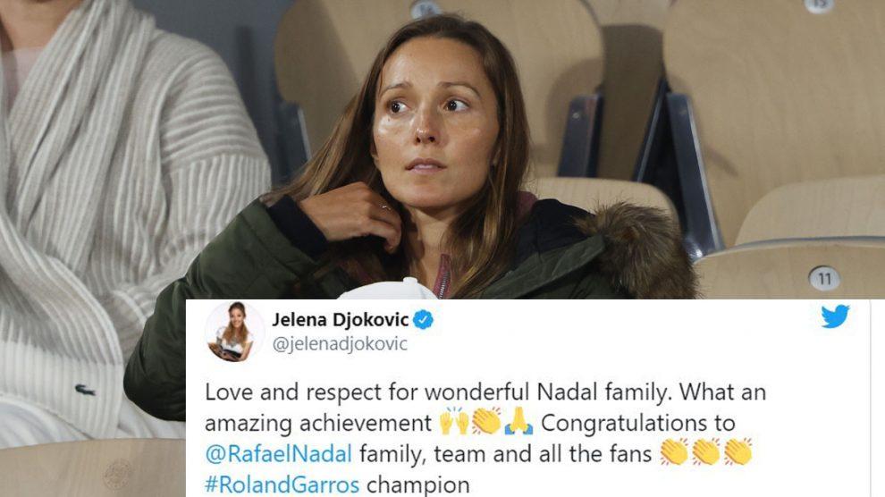 Jelena Djokovic, durante la final de Roland Garros/ Mensaje de felicitación a Nadal (Getty)