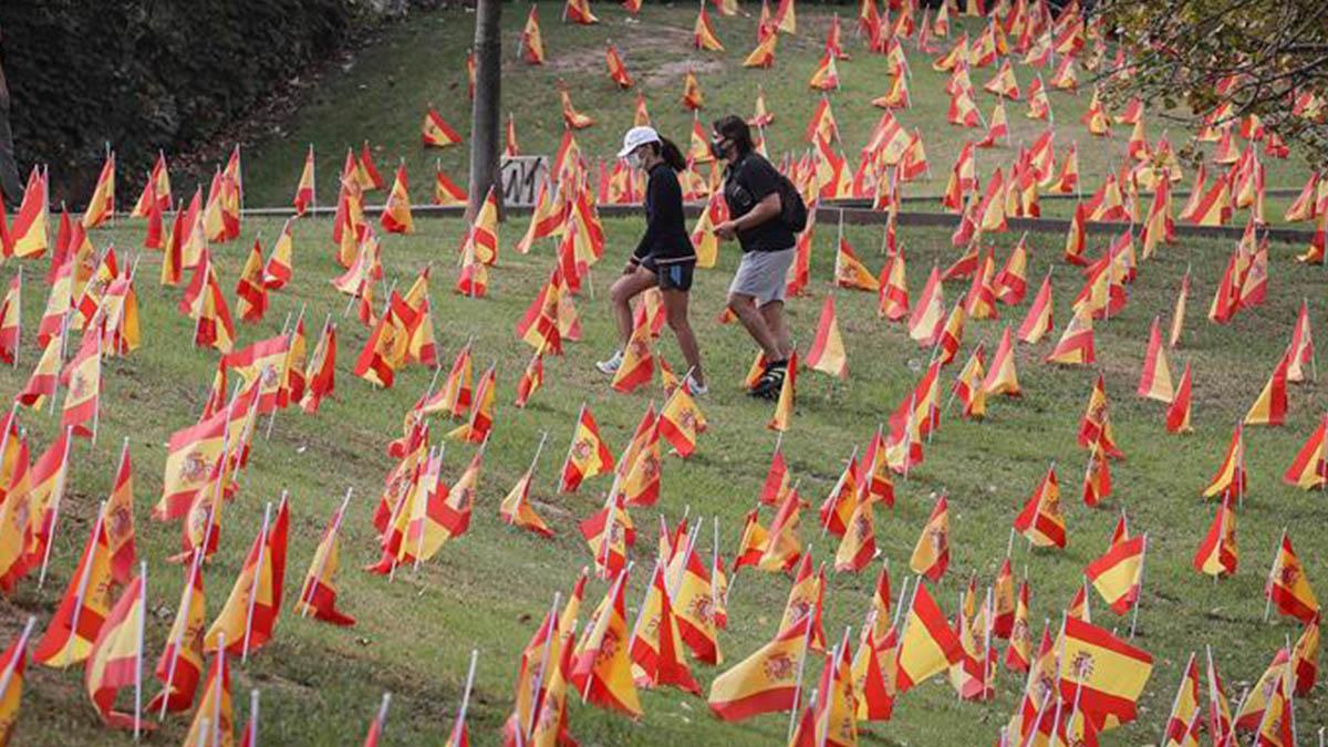 Vista de las 53.000 banderas colocadas por la Asociación Nacional de Víctimas y Afectados por Coronavirus (Anvac) junto al río Guadalquivir a su paso por Sevilla este domingo.