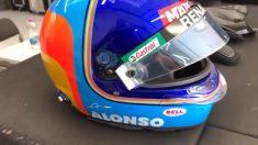 El casco que ha utilizado Fernando Alonso en el filming day de Barcelona. (@RenaultF1Team)