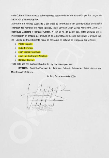 Carta enviada por el ministro del Interior de Bolivia a la Fiscalía para que cite como testigos a Pablo Iglesias y a Juan Carlos Monedero entre otros.